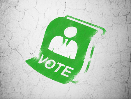 dictatorship: Politics concept: Green Ballot on textured concrete wall background
