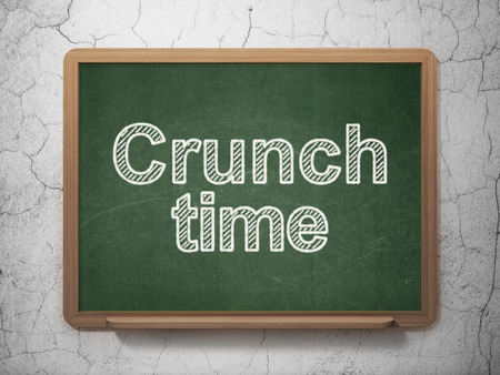 crunch: Business concept: text Crunch Time on Green chalkboard on grunge wall background, 3D rendering Stock Photo