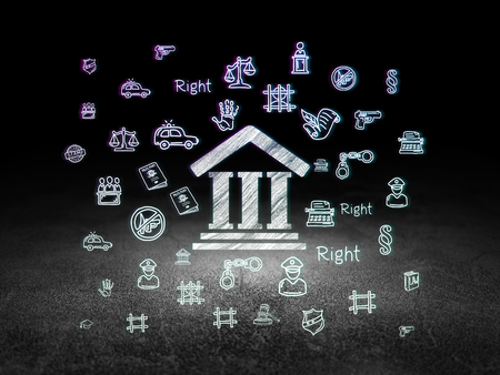 dirty room: Law concept: Glowing Courthouse icon in grunge dark room with Dirty Floor, black background with  Hand Drawn Law Icons Stock Photo
