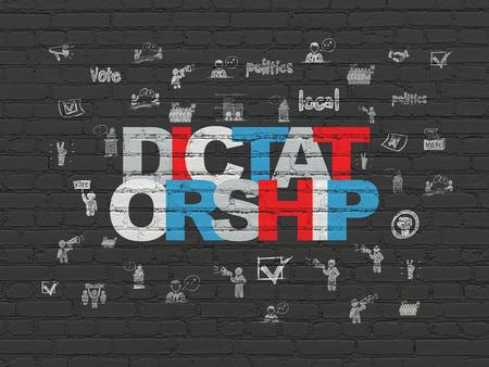 dictatorship: Politics concept: Painted multicolor text Dictatorship on Black Brick wall background with  Hand Drawn Politics Icons