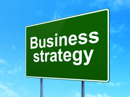 clear strategy: Finance concept: Business Strategy on green road highway sign, clear blue sky background, 3D rendering