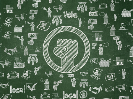 Political concept: Chalk White Uprising icon on School board background with  Hand Drawn Politics Icons, School Board Stock Photo