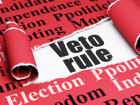 veto: Politics concept: black text Veto Rule under the curled piece of Red torn paper with  Tag Cloud, 3D rendering