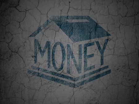 money box: Money concept: Blue Money Box on grunge textured concrete wall background