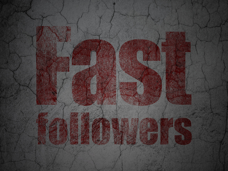 followers: Business concept: Red Fast Followers on grunge textured concrete wall background