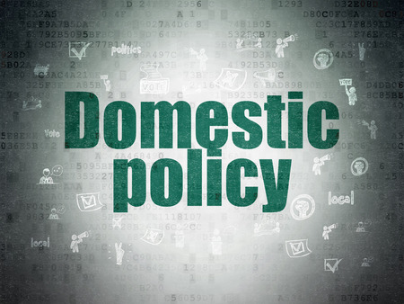 domestic policy: Politics concept: Painted green text Domestic Policy on Digital Data Paper background with  Hand Drawn Politics Icons Stock Photo