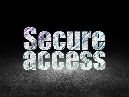 room access: Safety concept: Glowing text Secure Access in grunge dark room with Dirty Floor, black background