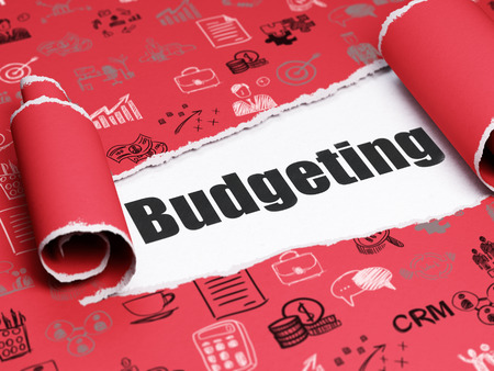 budgeting: Finance concept: black text Budgeting under the curled piece of Red torn paper with  Hand Drawn Business Icons, 3D rendering