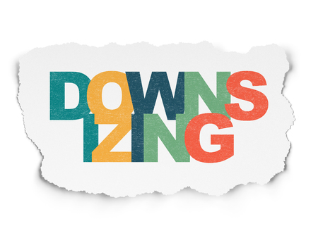 downsizing: Finance concept: Painted multicolor text Downsizing on Torn Paper background