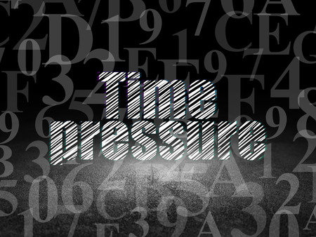 time pressure: Timeline concept: Glowing text Time Pressure in grunge dark room with Dirty Floor, black background with  Hexadecimal Code