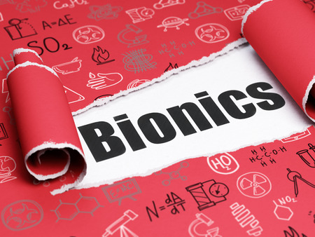 bionics: Science concept: black text Bionics under the curled piece of Red torn paper with  Hand Drawn Science Icons, 3D rendering