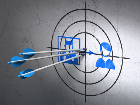 Success law concept: arrows hitting the center of Blue Criminal Freed target on wall background, 3D rendering Stock Photo