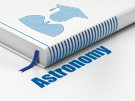 Studying concept: closed book with Blue Student icon and text Astronomy on floor, white background, 3D rendering