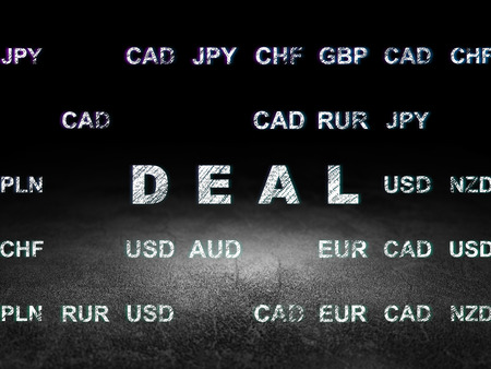 deal in: Finance concept: Glowing text Deal in grunge dark room with Dirty Floor, black background with Currency