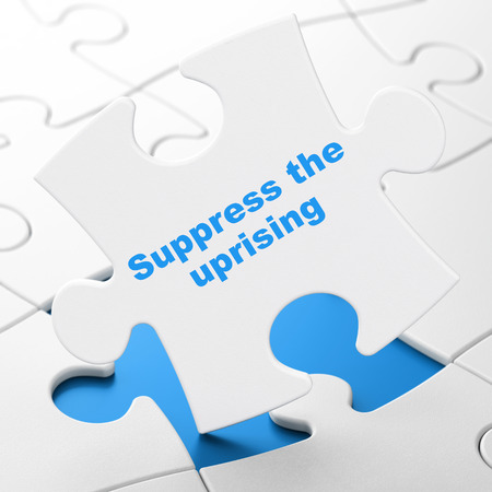 suppress: Politics concept: Suppress The Uprising on White puzzle pieces background, 3D rendering Stock Photo