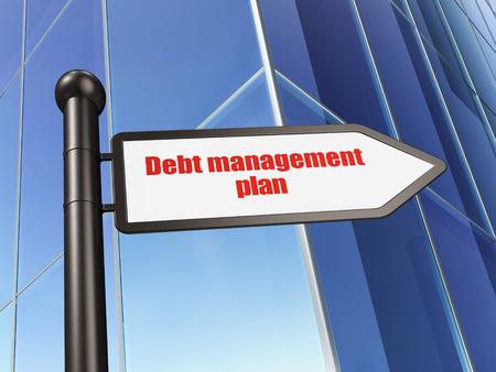 debt management: Business concept: sign Debt Management Plan on Building background, 3D rendering Stock Photo
