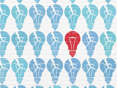 broken strategy: Finance concept: rows of Painted blue light bulb icons around red light bulb icon on White Brick wall background