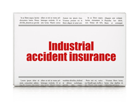 industrial accident: Insurance concept: newspaper headline Industrial Accident Insurance on White background, 3D rendering Stock Photo