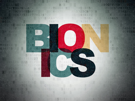 bionics: Science concept: Painted multicolor text Bionics on Digital Data Paper background Stock Photo