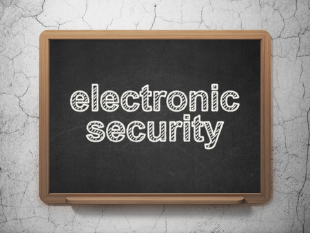 Protection concept: text Electronic Security on Black chalkboard on grunge wall background, 3D rendering
