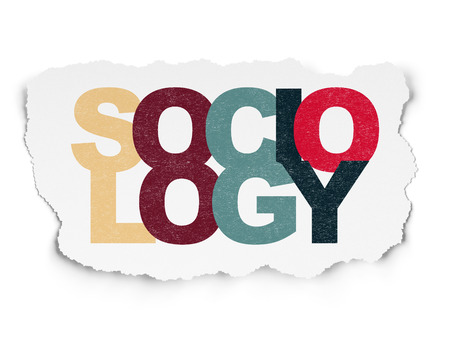 sociology: El estudio de concepto: pintada multicolor Sociología texto sobre fondo de papel rasgado