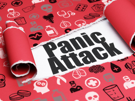 panic attack: Healthcare concept: black text Panic Attack under the curled piece of Red torn paper with  Hand Drawn Medicine Icons, 3D rendering