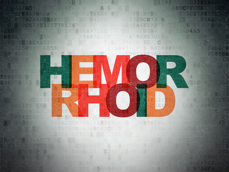 hemorrhoid: Medicine concept: Painted multicolor text Hemorrhoid on Digital Data Paper background