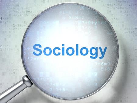 sociology: El estudio de concepto: lupa óptica con palabras Sociología en el fondo digital, 3D