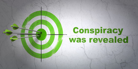 conspiracy: Success political concept: arrows hitting the center of target, Green Conspiracy Was Revealed on wall background, 3D rendering