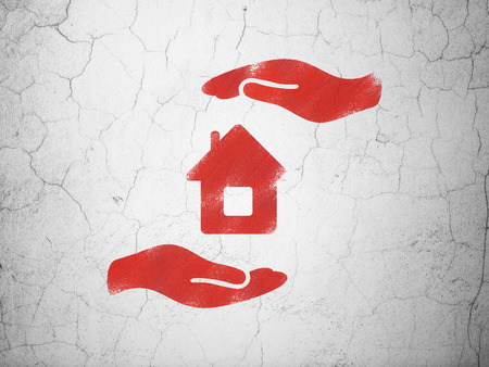 Insurance concept: Red House And Palm on textured concrete wall background