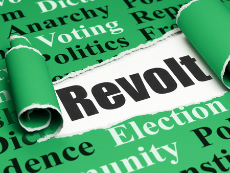 revolt: Political concept: black text Revolt under the curled piece of Green torn paper with  Tag Cloud, 3D rendering Stock Photo