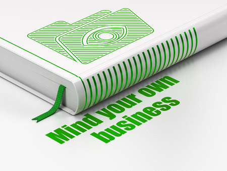 close your eyes: Finance concept: closed book with Green Folder With Eye icon and text Mind Your own Business on floor, white background, 3D rendering