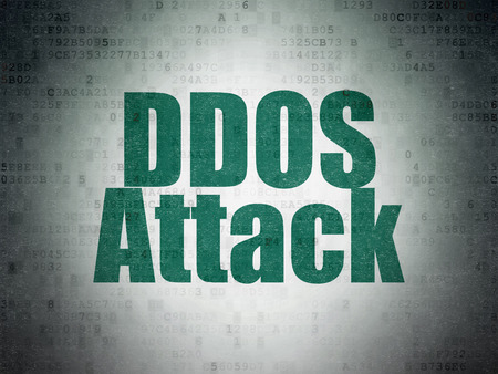 privat: Protection concept: Painted green word DDOS Attack on Digital Data Paper background