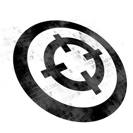 Concepto de negocio: pixelada icono de destino negro sobre fondo digital Foto de archivo