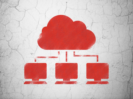 wall cloud: Cloud computing concept: Red Cloud Network on textured concrete wall background