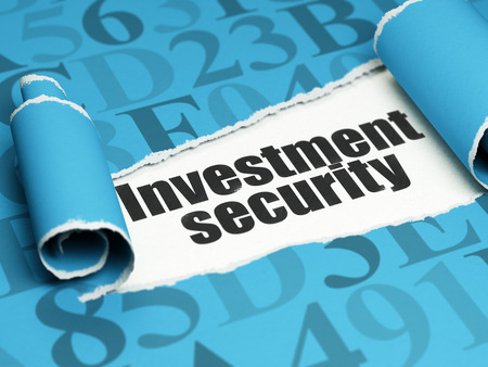 investment security: Privacy concept: black text Investment Security under the curled piece of Blue torn paper with  Hexadecimal Code, 3D rendering