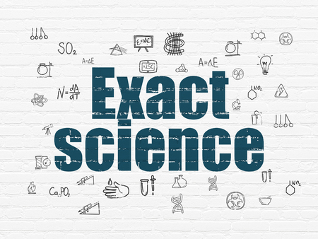 exact: Science concept: Painted blue text Exact Science on White Brick wall background with  Hand Drawn Science Icons