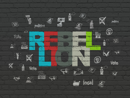 rebellion: Politics concept: Painted multicolor text Rebellion on Black Brick wall background with  Hand Drawn Politics Icons