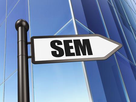 sem: Advertising concept: sign SEM on Building background, 3D rendering Stock Photo