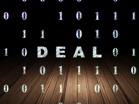 deal in: Finance concept: Glowing text Deal in grunge dark room with Wooden Floor, black background with Binary Code