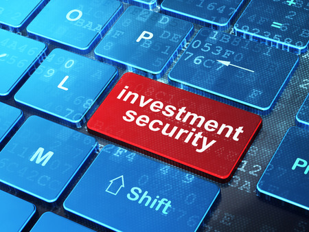 investment security: Security concept: computer keyboard with word Investment Security on enter button background, 3D rendering