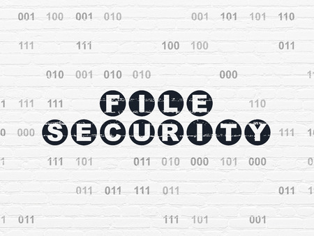 binary file: Privacy concept: Painted black text File Security on White Brick wall background with Binary Code