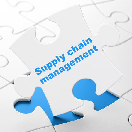 business words: Marketing concept: Supply Chain Management on White puzzle pieces background, 3D rendering Stock Photo