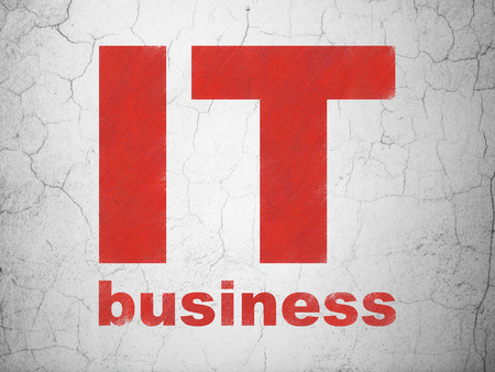 it business: Business concept: Red IT Business on textured concrete wall background
