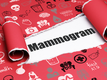 mammogram: Medicine concept: black text Mammogram under the curled piece of Red torn paper with  Hand Drawn Medicine Icons, 3D rendering Stock Photo