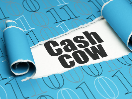 cash cow: Business concept: black text Cash Cow under the curled piece of Blue torn paper with  Binary Code, 3D rendering