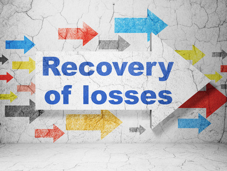 stock price losses: Currency concept:  arrow with Recovery Of losses on grunge textured concrete wall background, 3D rendering