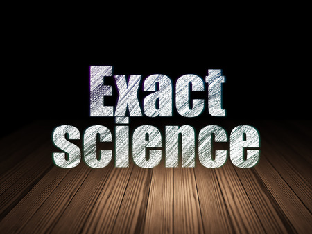 exact science: Science concept: Glowing text Exact Science in grunge dark room with Wooden Floor, black background