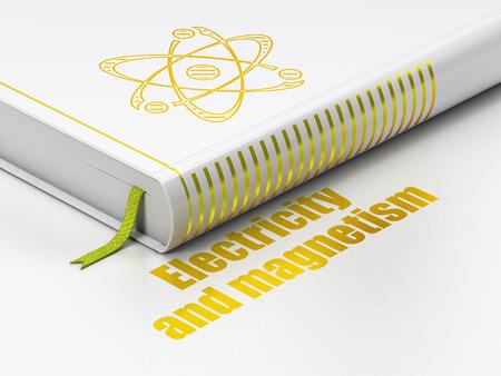 magnetismo: concetto di scienza: libro chiuso con oro molecola icona e testo elettricità e magnetismo sul pavimento, sfondo bianco, il rendering 3D Archivio Fotografico