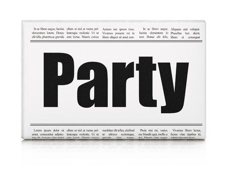 newspaper headline: Entertainment, concept: newspaper headline Party on White background, 3D rendering